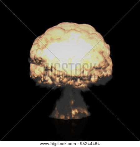 Mushroom Cloud of Nuclear Explosion (Isolated on Black)