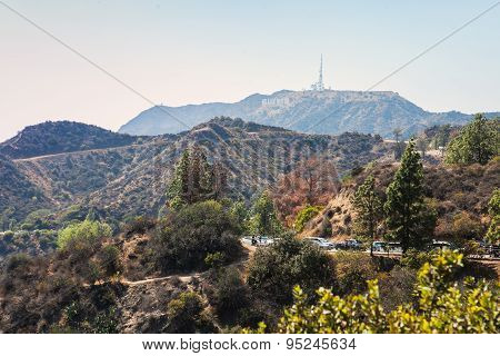 Mountain view with Hollywood Sign from the Griffith Observatory. Los Angeles