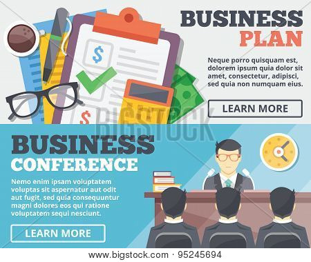 Business plan and business conference flat illustration concepts set