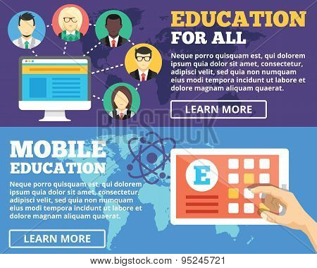 Mobile education, education for all, internet education flat illustration concepts set