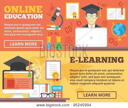 Online education, e-learning flat illustration concepts set