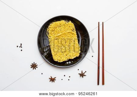Instant Noodles For Cooking In The Dish.