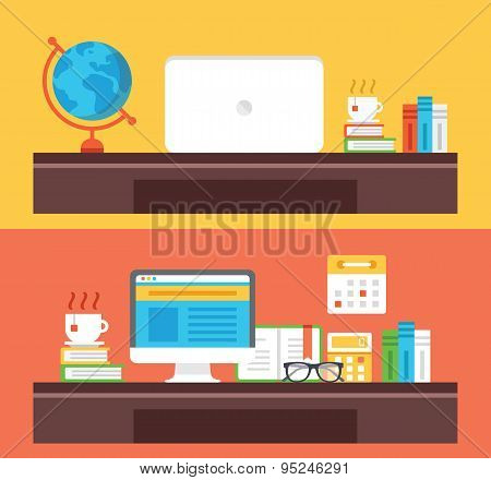 Workplace, office room, home room, school room, workspace flat illustration concepts set