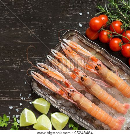 Raw Langoustines On Ice With Lime,tomatoes And Herbs