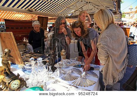 Antique Market The Cours Saleya, Nice, France
