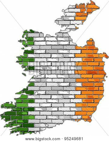 Ireland Map On A Brick Wall