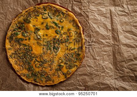 Omelette On Old Crumpled Paper
