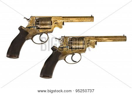 Pistols Pair Original Decorated Gold Ornate Revolvers