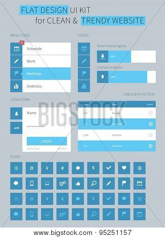 Flat Ui Kit Design Elements For Webdesign