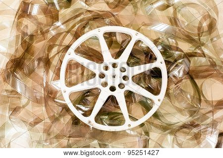 Cinema Movie Reel And 35 Mm Film Background