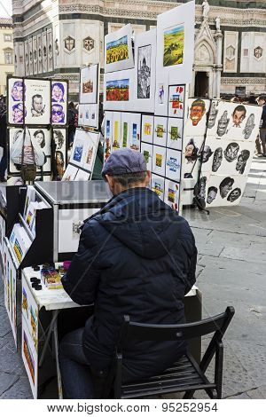 Artist Near Florence Cathedral In Italy