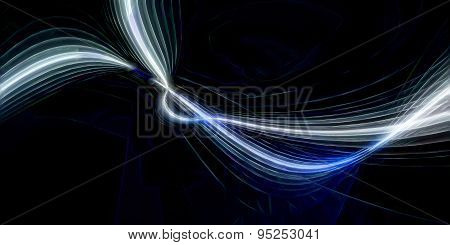 3D illustration of abstract with luminous shapes