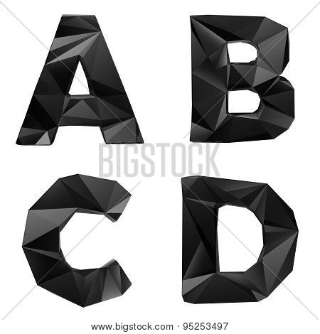 Black glossy lowpoly font