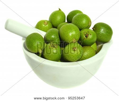 Green Young Walnuts In Husks