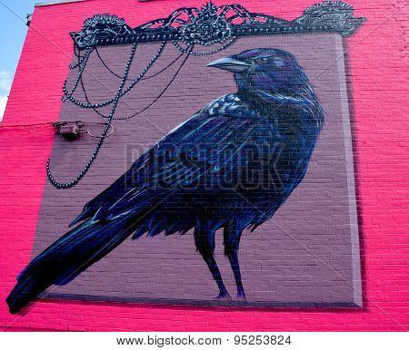 Street art Montréal crow