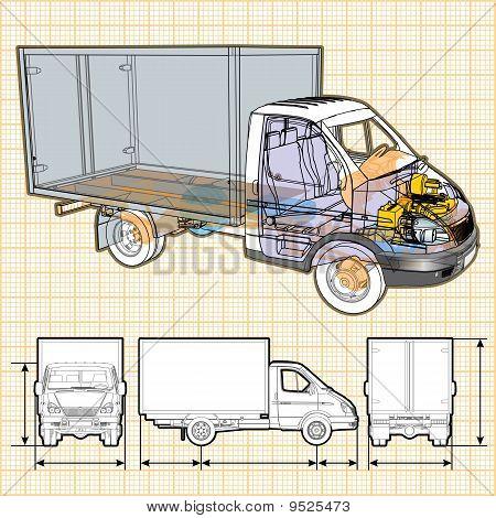 Vector entrega / carro de carga corte de infografía