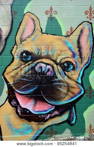 Street art Montreal pug dog