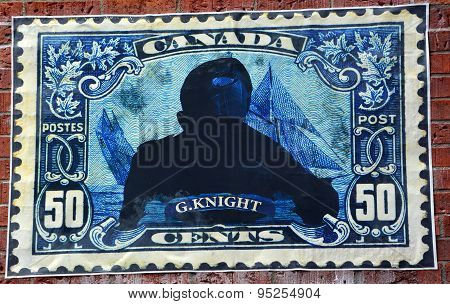 Street art Montreal stamp