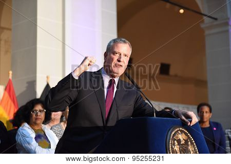 Mayor Bill de Blasio speaks