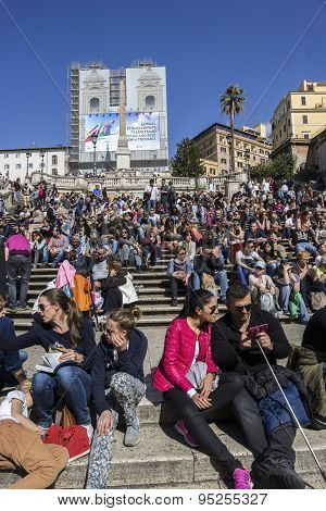 Tourists On Spanish Steps In Rome In Italy