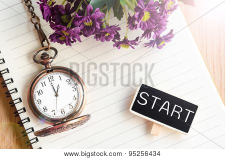 Start In Black Wooden Tag And Pocket Watch At 1 Pm.