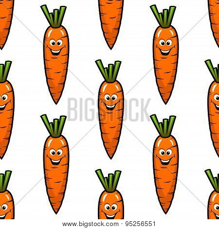 Cartoon carrot vegetables seamless pattern