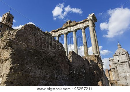 Temple Of Saturn In Rome, Italy