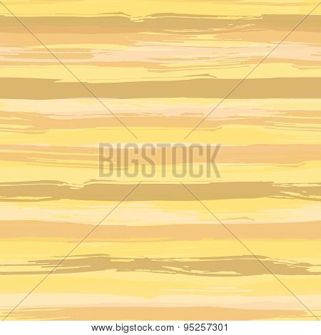 Vector seamless pattern with brush strokes. Striped creative background in shades of yellow.