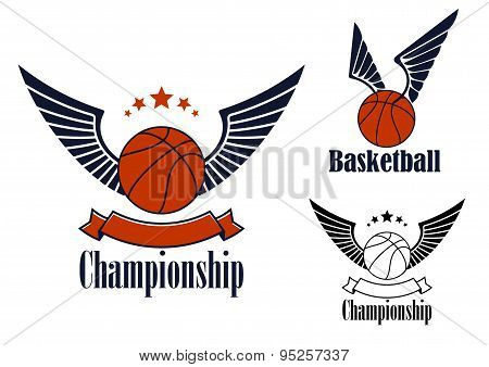 Basketball game emblems with winged balls