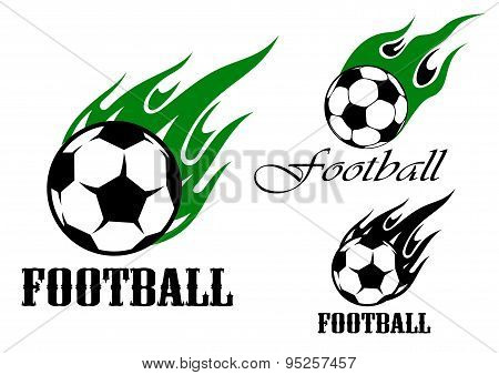 Football sports emblems with flaming ball