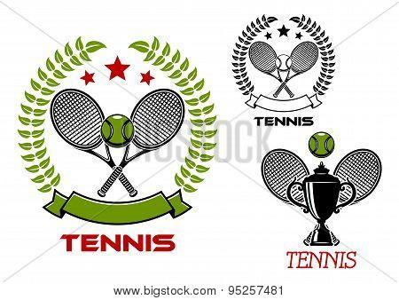 Tennis tournament emblems with sport items