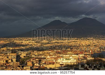 Port Of Naples With Mount Vesuvius In The Background