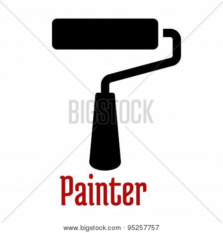 Paint roller tool black silhouette icon