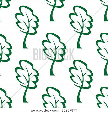 Outline green trees seamless pattern