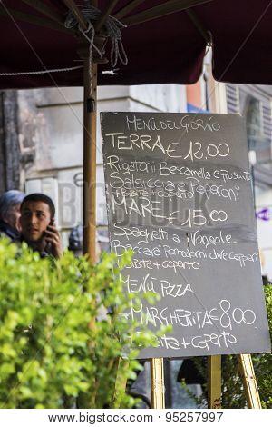 Restaurant Menu In Naples, Italy