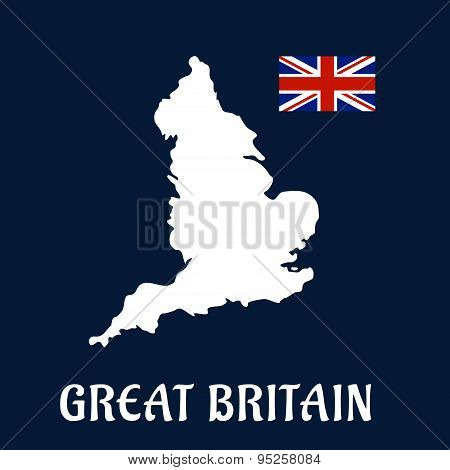 Map of Great Britain with national flag