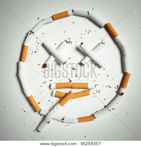 smile, made of cigarettes