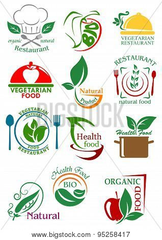 Vegetarian and natural healthy food emblems