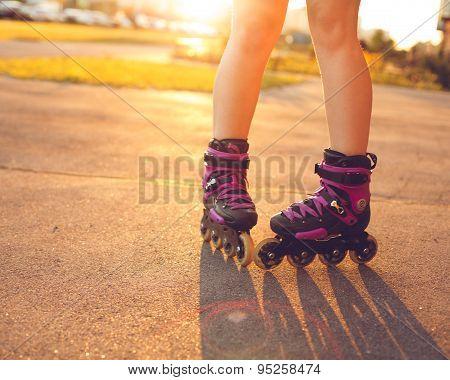 Close up on roller skate shoes