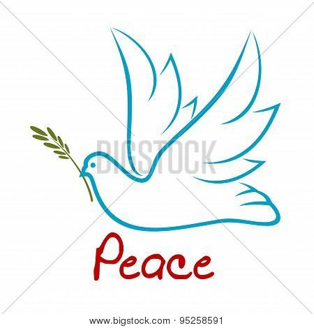 Flying dove of peace with green twig