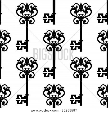 Vintage keys with bows seamless pattern