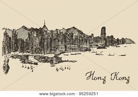 Hong Kong skyline vector hand drawn sketch