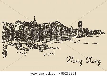 Hong Kong skyline vector hand drawn sketch