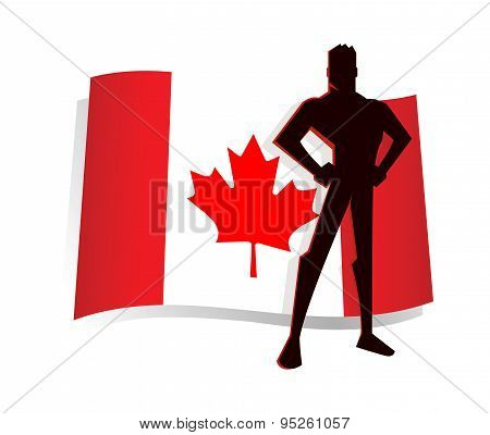 Man Standing Pride In Front Of Canada Flag