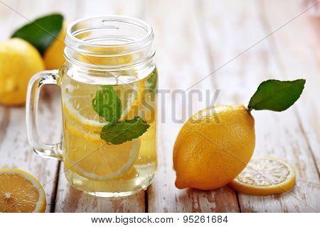 Fresh Lemon Infused Water With Ingredients