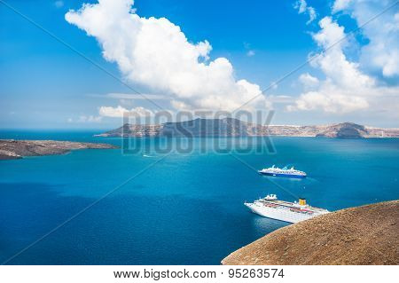 Cruise Ships At The Sea Near The Greek Islands