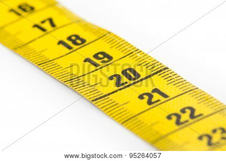 Yellow Measuring Tape Isolated - Selective Focus