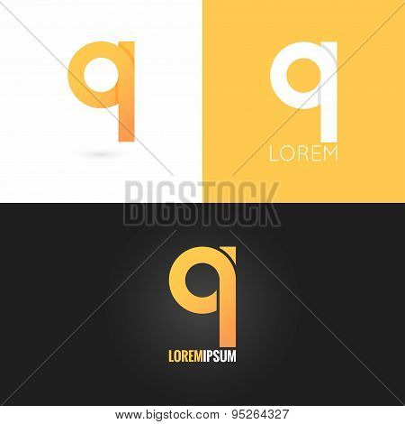 letter Q logo design icon set background