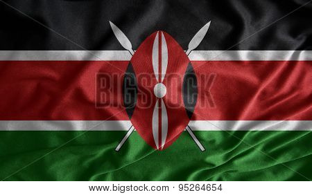 Waving Colorful Kenyan Flag Fabrics
