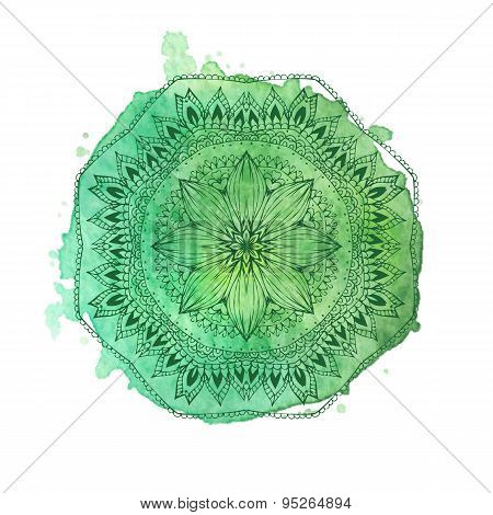 Watercolor Mandala. Vector Isolated Element
